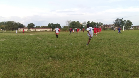 Ayei team captain C2A taking a freekick