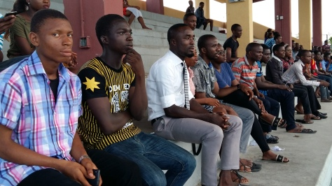 Spectators watching with keen Interest