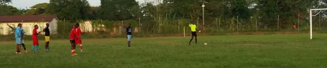 Refree awards a penalty, after Eyo Victor is brought down by Urom David (PC2)
