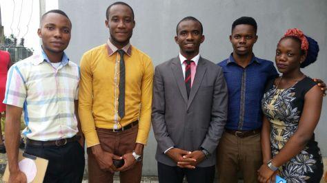 From left to right; Dan Akaninyene, Emana Alexis (General Secretary), Otuekong Phamous (President Elect), a NAAKIMSITE, and Chinenye Udoh (Treasurer)