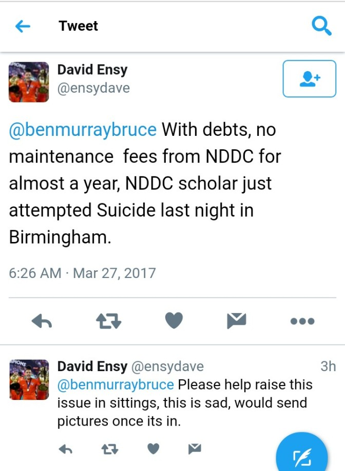 NIGERIAN STUDENT ATTEMPTS SUICIDE IN UK OVER UNPAID SCHOLARSHIP