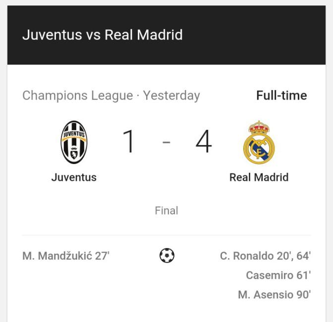 LIVE UPDATES: UCL FINAL,  JUVENTUS VS REAL MADRID.